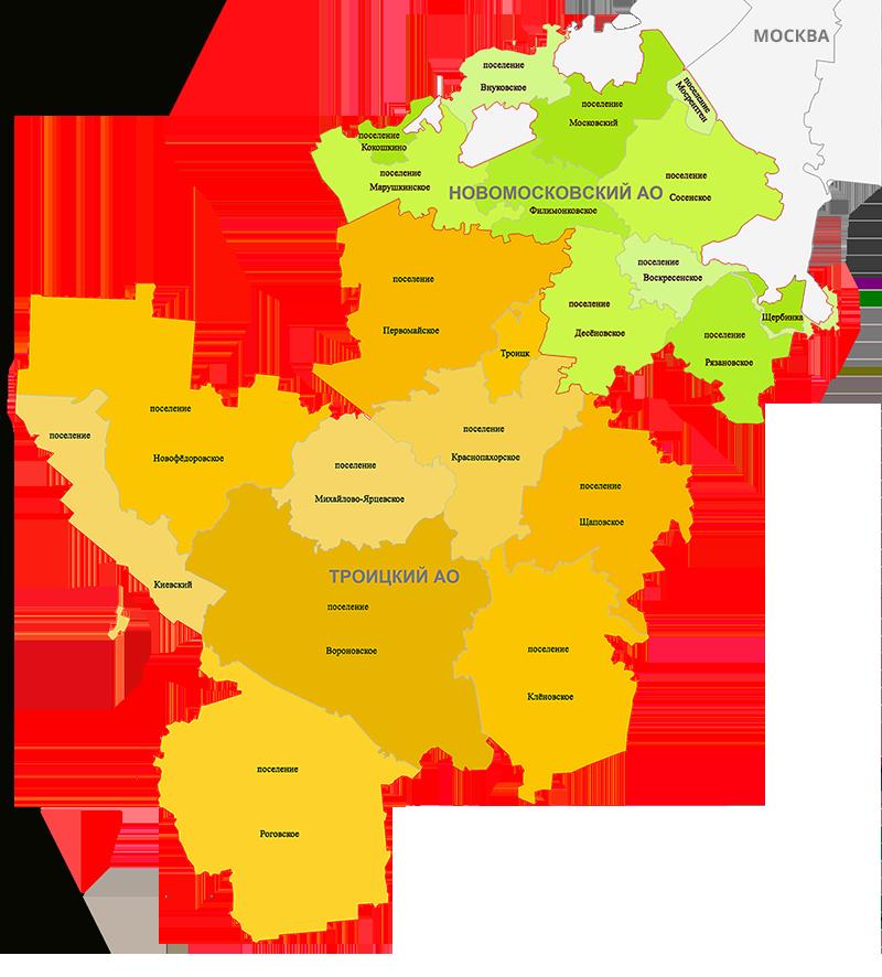 Карта регионов ТИНАО