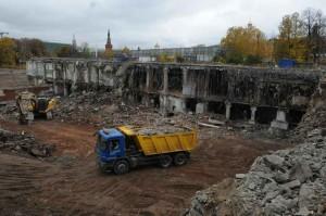 17 Октября 2014 Мэр Москвы Сергей Собянин осматривает место строительства парка Зарядье