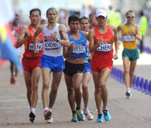 LONDON, GREAT BRITAIN. AUGUST 4, 2012. China's Wang Zhen, Russia's Valeriy Borchin, Guatemala's Erick Barrondo and China's Chen Ding (from L) compete in the men's 20km race walk at the London Olympic Games. (Photo ITAR-TASS / Stanislav Krasilnikov) Âåëèêîáðèòàíèÿ. Ëîíäîí. 4 àâãóñòà. Ðîññèéñêèé ñïîðòñìåí Âàëåðèé Áîð÷èí (âòîðîé ñëåâà) âî âðåìÿ ñîðåâíîâàíèé ïî ñïîðòèâíîé õîäüáå 20 êì. íà Îëèìïèàäå-2012. Ôîòî ÈÒÀÐ-ÒÀÑÑ/ Ñòàíèñëàâ Êðàñèëüíèêîâ