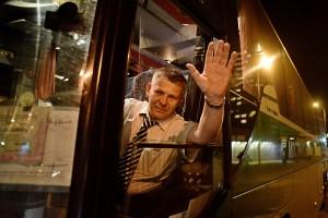 Отправление последнего автобуса по маршруту №960 Москва-Рязань от автовокзала Выхино