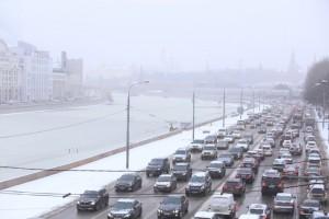 Снегопад в Москве на Тверской улице