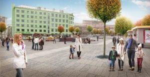 Проект улицы около метро «Таганская». Единая цветовая гамма для Москвы — один из основных принципов программы «Моя улица». Согласно этому принципу каждый дом, сквер и улица будут выполняться в сочетающихся цветах.