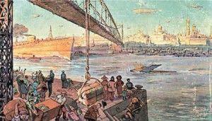 Москва-река в XXIII веке. Открытка-фантазия 1914 года из цикла «Москва в XXIII веке». Фотоархив Wikipedia