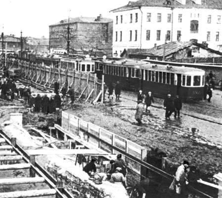 Строительство первой линии Московского метрополитена, 1932-1934 годы. Фотоархив Wikipedia