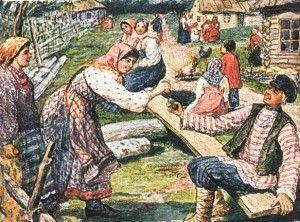 Пасхальная дореволюционная открытка. Игра в битки. Фотоархив Wikipedia