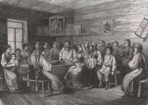"""""""Невесту отпускают к венцу"""". Гравюра по рисунку Рыбинского, 19 век. Фотоархив Wikipedia"""