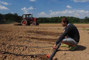 9 июня 2016 года. Деревня Васюнино. Фермер Павел Таран засеял грядки и теперь контролирует их полив