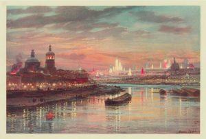 Иллюминация в Москве в день коронования Николая II. Коронационный сборник, 14 мая 1896 года. Фотоархив Wikipedia