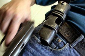 """TAS 59. CHELYABINSK,RUSSIA. SEPTEMBER . The """"Efa"""" JSC started to manufacture a modefied holster for a rapid use of the gun. (Photo ITAR-TASS/ Valery Bushukhin) ----- ÒÀÑ 03. Ðîññèÿ. ×åëÿáèíñê. 22 ñåíòÿáðÿ. Ê âûïóñêó óñîâåðøåíñòâîâàííîé ìîäåëè êîáóðû (íà ñíèìêå) ïðèñòóïèëè íà ÎÀÎ """"Ýôà"""". Áëàãîäàðÿ îñîáîìó óñòðîéñòâó, äîñòàòü ïèñòîëåò ìîæíî áóäåò çà ñîòûå äîëè ñåêóíäû, òîãäà êàê íîðìà ñîñòàâëÿåò 2-3 ñåêóíäû - çà ýòî âðåìÿ îïûòíûé ñíàéïåð óñïåâàåò ïðîèçâåñòè íåñêîëüêî âûñòðåëîâ. Ôîòî ÈÒÀÐ-ÒÀÑÑ/ Âàëåðèé Áóøóõèí"""