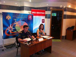 Начальник отдела безопасности людей на водных объектах Москвы Андрей Печенин провел пресс-конференцию. Фото: Александр Ахраменко.