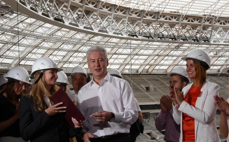Мэр Москвы Сергей Собянин осмотрел ход реконструкции стадиона Лужники