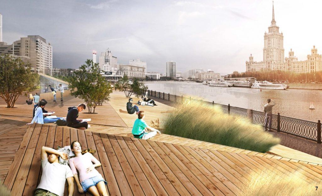 Новую прогулочную зону с причалами откроют на берегу Москвы-реки