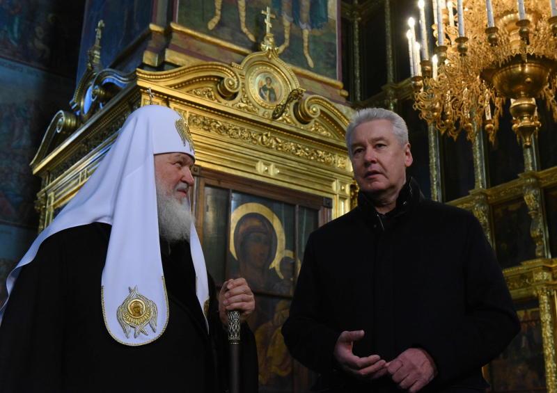 Сергей Собянин и Патриарх Кирилл осмотрели ход реставрации Новоспасского монастыря