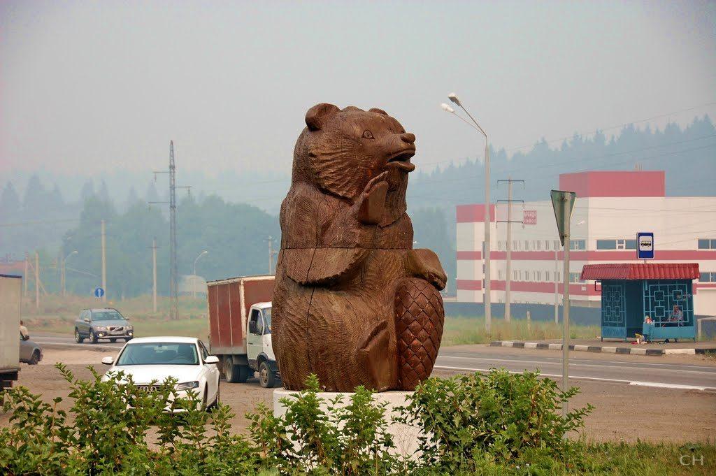 В ходе благоустройства планируется обновить статую медведя — символа поселка Шишкин Лес. Фото предоставлено администрацией поселения Михайлово-Ярцевское