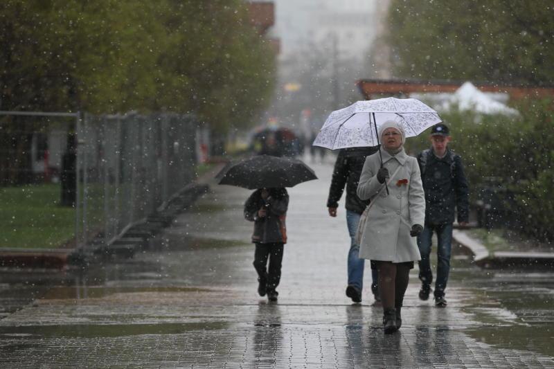 Начало лета: в Москве выпал мокрый снег