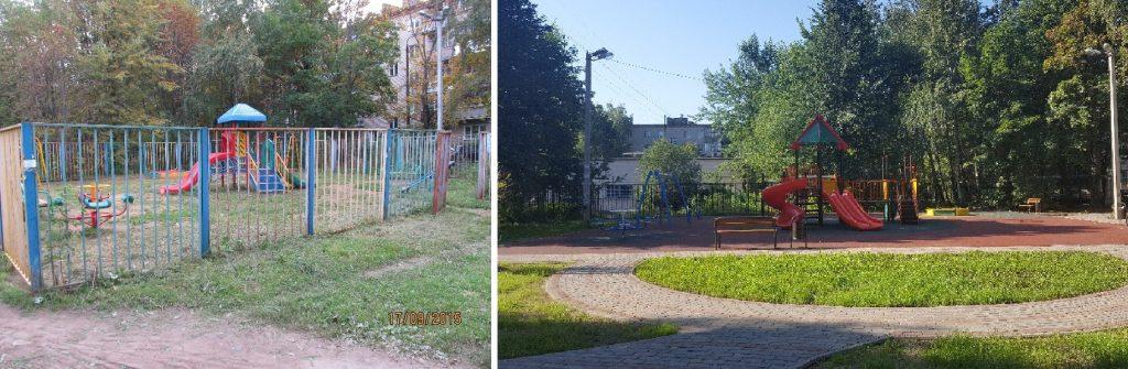 Было - Стало. Поселение Кокошкино. Площадка у дома №12 по улице Школьная. Фото: Администрация поселения Кокошкино