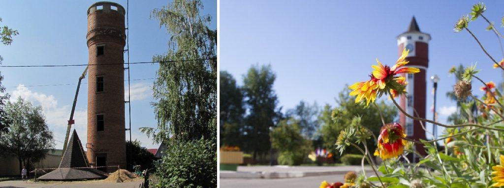 Было - Стало. Поселение Краснопахорское, село Красная Пахра, башня. Фото: Администрация поселения Краснопахорское