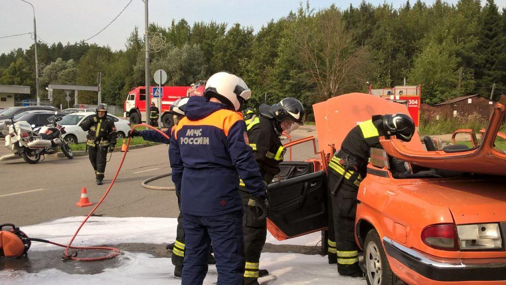Учения по ликвидации последствий дорожно-транспортного происшествия прошли в ТиНАО