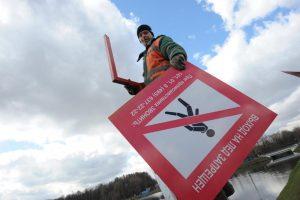 Предупреждающие знаки об опасности хождения по льду установят в Московском. Фото: Пелагия Замятина, «Вечерняя Москва»