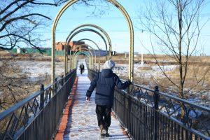 Пушкинский мост, который ведет к будущему Храму Преображения Господня. Фото: администрация поселения Роговское