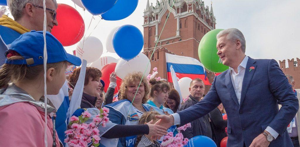 Сергей Собянин возглавил первомайскую демонстрацию.Фото: mos.ru