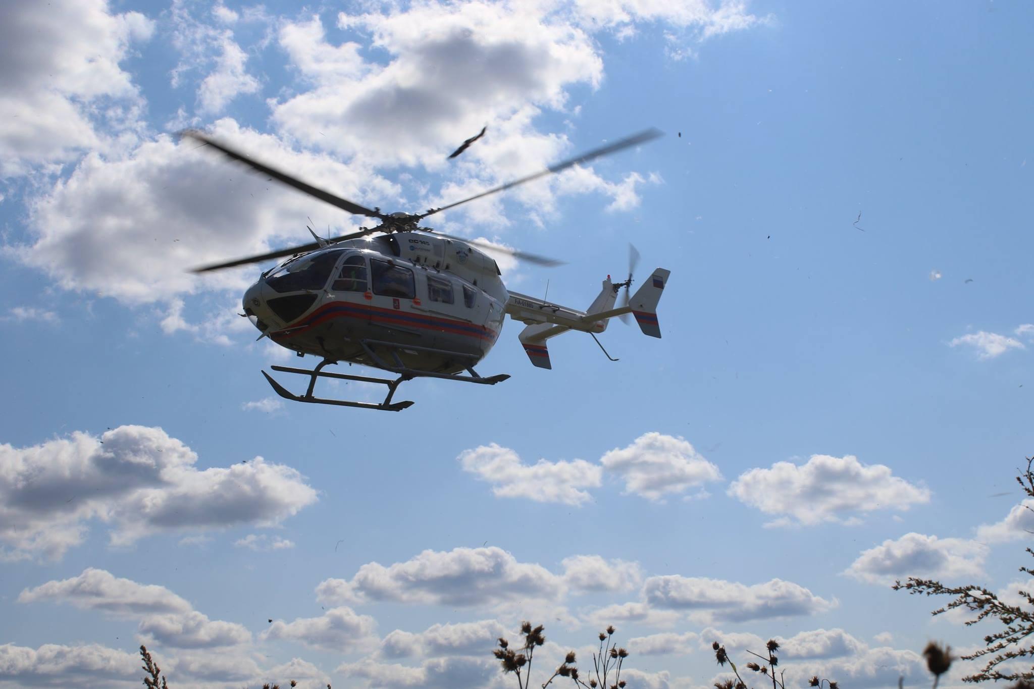 Санитарный вертолёт Московского авиационного центра вылетел в Крекшино для эвакуации пострадавшего