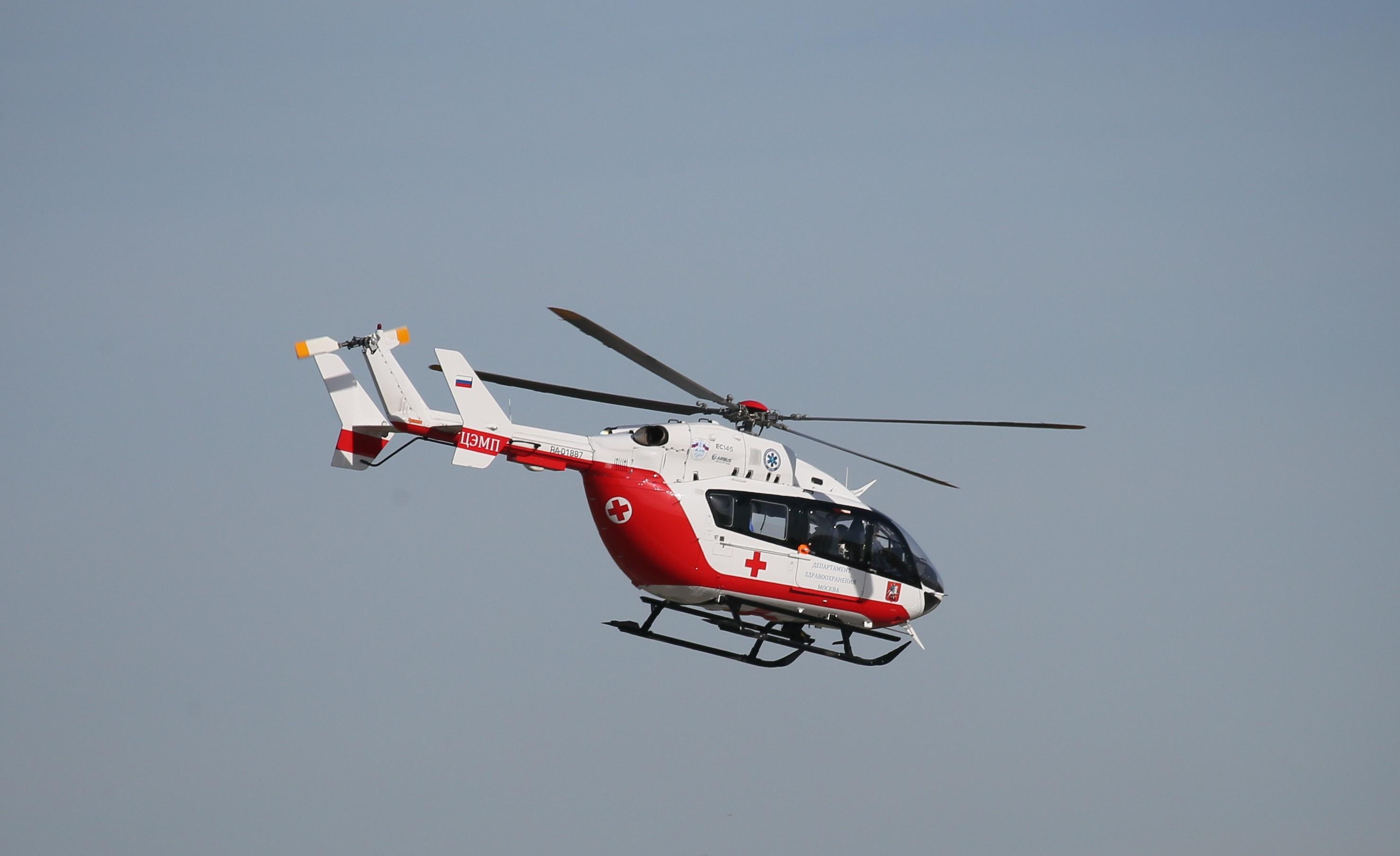 Вертолет эвакуировал пострадавших при дорожно-транспортном происшествии в Новой Москве