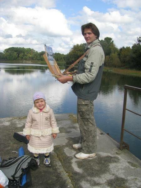 2009 год. Дочь Ольга пришла к Ярославу Зяблову во время работы. Фото: личный архив