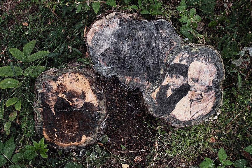 Рисунок на одном из деревьев переделкинского парка, созданный в рамках проекта «Деревья помнят все...». Использован фрагмент фото Окуджавы и Евтушенко, сделанного в Переделкине в 1987 году.