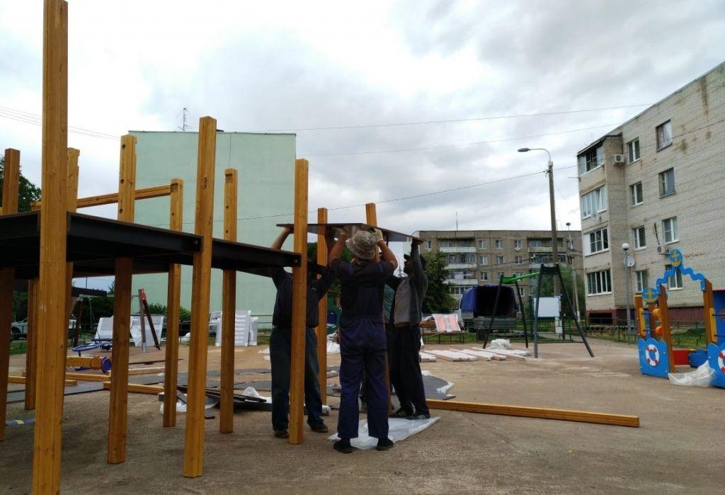 Новый этап благоустройства детской площадки начали в Щаповском