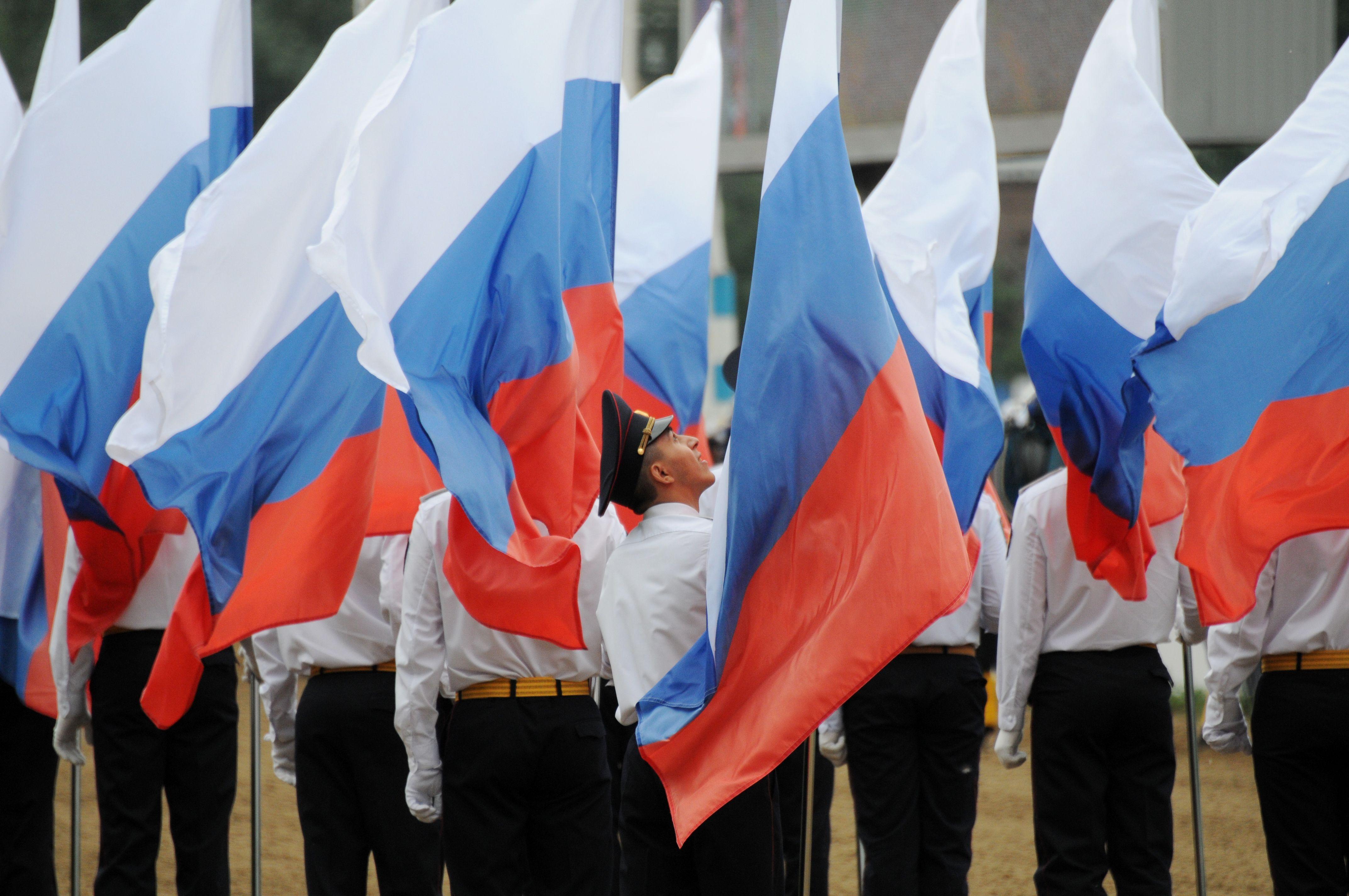 Масштабный флешмоб проходит на Сахарова в честь Дня флага России.Фото: архив, «Вечерняя Москва»