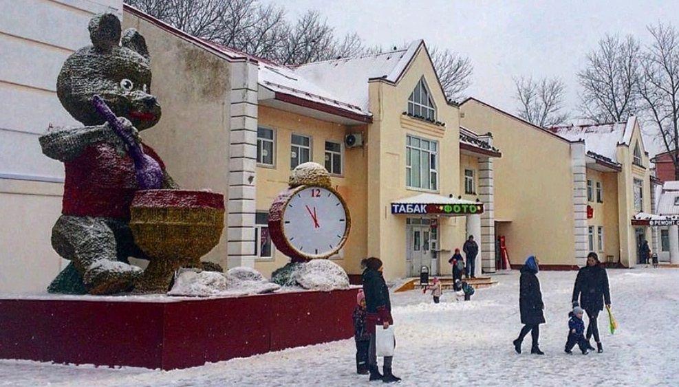 Фигуры в виде медведей и часов установили к Новому году в Рязановском