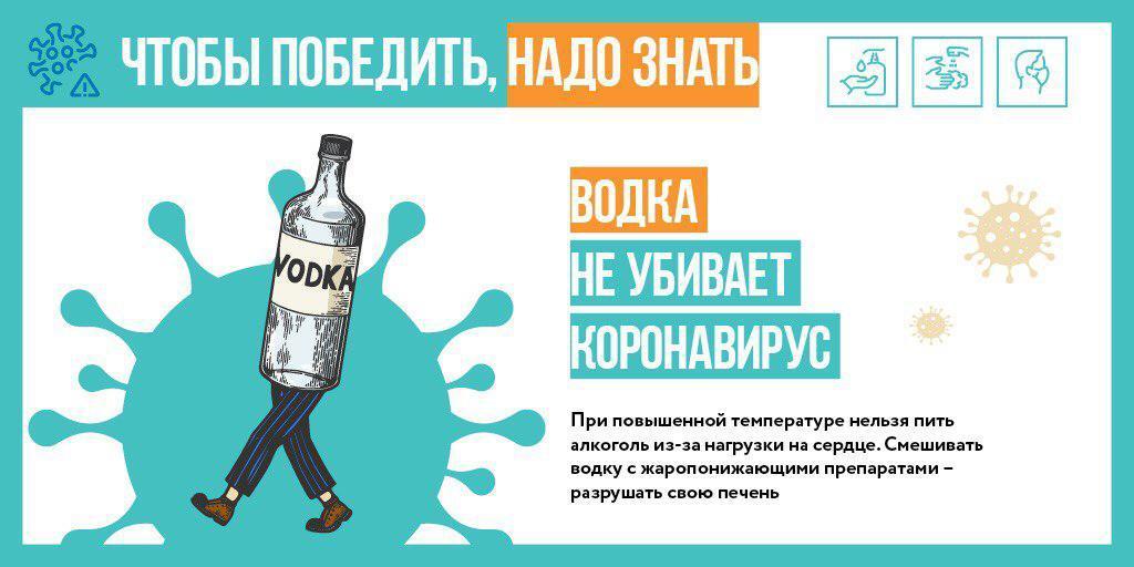 Алкогольные напитки не помогут в борьбе с COVID-19