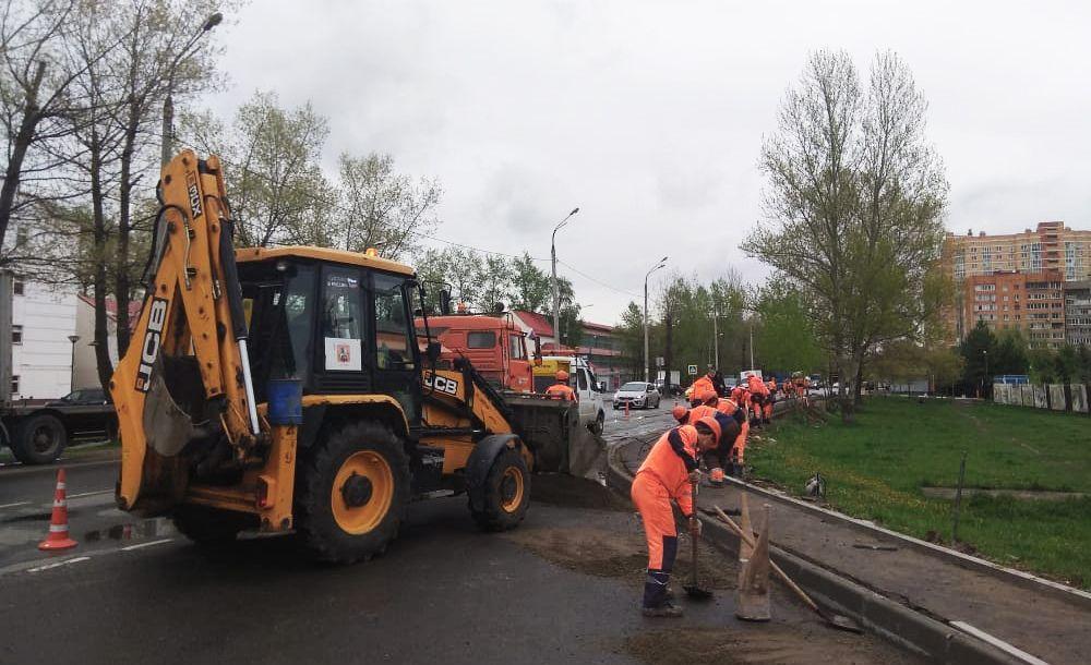 Обновление элемента дорожного хозяйства осуществили вблизи Спортивно-культурного центра «Пересвет». Фото предоставили сотрудники администрации