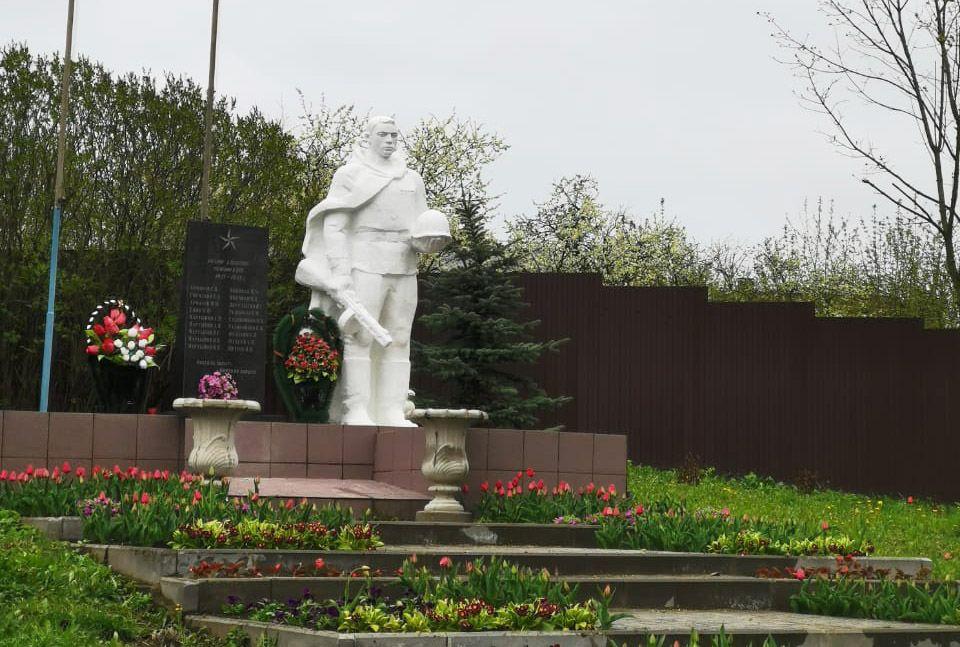 Территории памятников в Рязановском украсили цветами ко Дню Победы