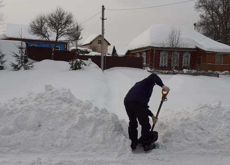 Активисты из поселения Роговское помогли местным жителям в уборке снега